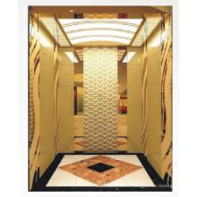 Ascenseur résidentiel de 1350 kg MRL avec finition miroir doré