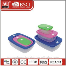 Kunststoff-Square-Lebensmittel-Container gesetzt 3pcs 0.23L/0.6L/1.4L
