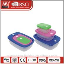 Récipient de nourriture en plastique carré défini 0.23L/0.6L/1.4L 3pcs