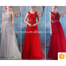 Graues rotes heißes Verkaufs-langes Sleeveless Qualitäts-Soem-Service-Brautjunfer-Kleid
