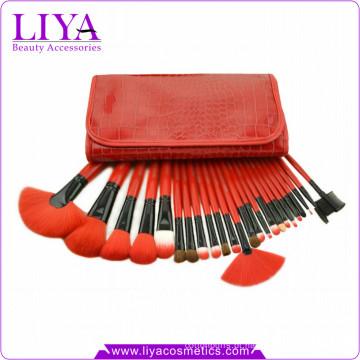 Vermelho profissional 24 cabelo sintético moda cosméticos escova kit peças