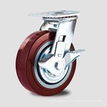Double roulement à billes Rouge PU Sice Type de frein Roulette (KHX4-H1)