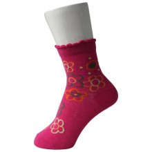 Ruffled Cuff Girl Pink Socken