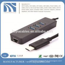 USB 3.1 Type C Multiple 3 Ports Hub with Gigabit Ethernet Network LAN Adapter