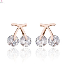 Creative Rose Gold Stainless Steel Cherry Zircon Fruit Earrings