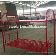 Material de metal cor vermelha crianças double deck design cama