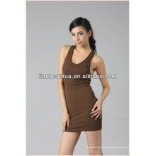 Melhor qualidade sem costura saia da menina com ombro-correias, saia da moda sem costura saia curta