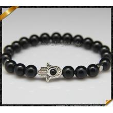 Redondo perlas de ágata negro suave perlas pulseras para regalo de joyería (CB0121)