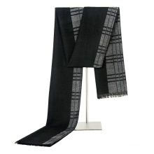 Soft cheap black and grey plaid knitted man cotton scarf