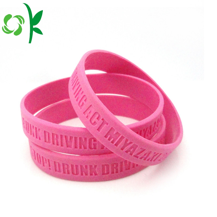 pink silicone debossed bracelet