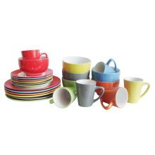 16PCS 20PCS Keramik Steingut Volltonfarbe glasierte Abendessen-Set (6160012)