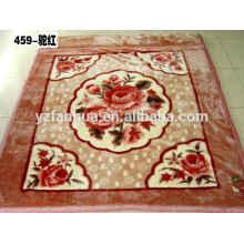 Plain Style Knited Polyester Flower Printed Raschel Mink Blankets