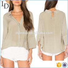 High Quality Woman Linen Shirt Long Sleeve shirt fashion deep v neck blouse