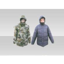 07 Woodland para baixo e casaco militar dupla-face