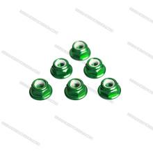 Porcas de alumínio cnc personalizado M3 porca de bloqueio, flange verde porca