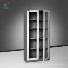 Armário de armazenamento de aço do arquivamento do uso do escritório do armário de aço da porta de vidro