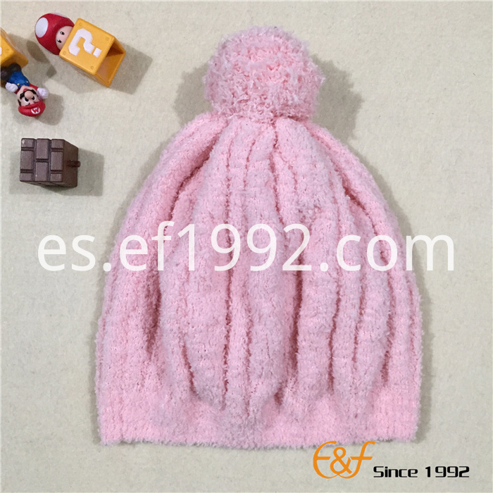 knitted pink warm hat