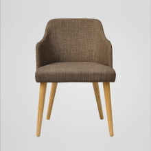 High Armrest Fabric Wooden Chair for Dining Room
