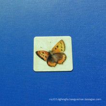 Square Offset Printed Badge, Epoxy-Dripping Butterfly Badge (GZHY-OP-020)