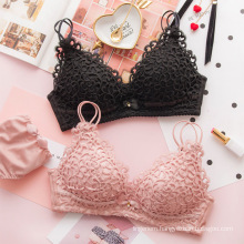 Wholesale china factory lace thin triangle cup push up sexy ladies bra and panty set