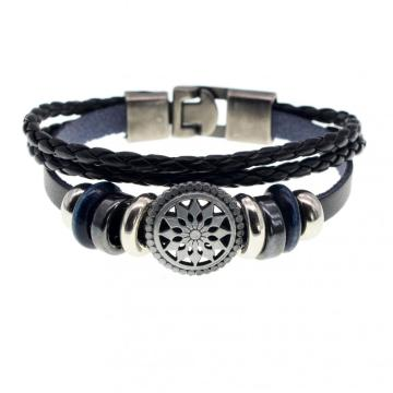 Best Price High Quality Black Leather Sun Bracelet Charm Jewelry