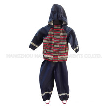 Stripe Hooded Reflective PU Rain Jacket
