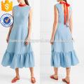 Hot Sale Blue Sleeveless Ties Ruffled Hem Midi Summer Daily Dress Manufacture Wholesale Fashion Women Apparel (TA0002D)