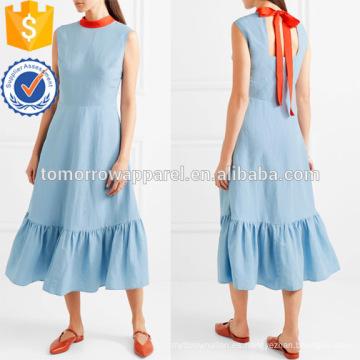 Venta caliente azul sin mangas corbatas volantes dobladillo Midi verano vestido diario fabricación al por mayor de moda mujeres ropa (TA0002D)