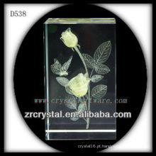 K9 3D Laser Rosa amarela dentro do bloco de cristal
