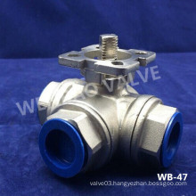 L-Port 3 Way Stainless Steel Ball Valve Under Actuator