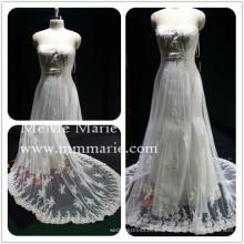 Appliqued Spitze trägerlosen Brautkleid Brautkleid mit Strass Band BYB-14503