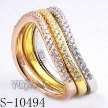 925 joyería de plata de circonio con anillo de combinación de mujeres (s-10494)