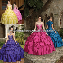HQ2004 Bolero jacket withe beaded ruched taffeta puffy dress ball gown big skirt lace up back deep purple quinceanera dress