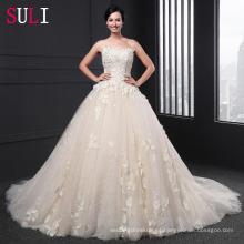 SL-020 impresionante sin tirantes Appliqued cremallera vestido de bola vestido de novia de tren de la Capilla 2016