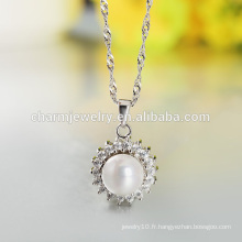 2016 Lastest Fashion Noble Pearl 925 Collier en argent pour femmes occidentales SCR017