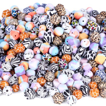 Leopard Bpa Free Teether Supplies Mix Double Hole 19mm Kits Custom 20mm Printed Bulk Clip Pacifier Silicone Beads