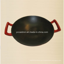 Gusseisen Wok Inside Black Enamel Outside Red Enamel