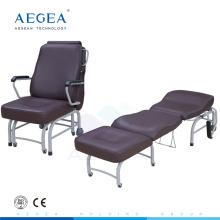 AG-AC008 lujoso cuero marrón cubierta hospital acompañan cama plegable silla médica