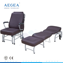 AG-AC008 Luxurious brown leather cover hospital accompany bed folding medical chair