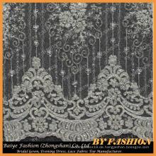 Elfenbein bestickte Perlen und Sequin Lace Stoff, Braut Spitze Textil 52 '' No.CA076B