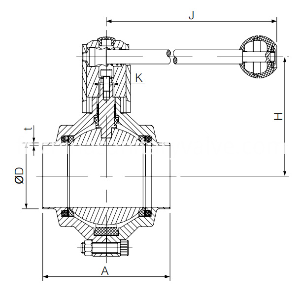 DIN Hygienic Welded Ball Valve Butterfly Type