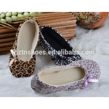 Fashion indoor slipper 2016 leopard home shoes with bowtie women bedroom