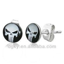 7mm Stainless Steel Marvels Comics The Punisher Ear Fake Stud Earrings