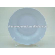 """8 """"placa de sopa branca de corte de porcelana"""