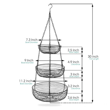 3 Tier Fruit Basket Detachable Fruit Baskets Holder Vegetable Snack Storage Kitchen Organizer Fruit Bowl Stand