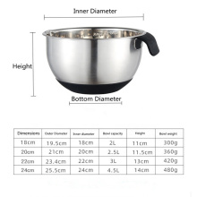 Stainless Steel Silicone Bottom Egg Beater Deepening and Stirring Household Whipped Cream Basin with Handle