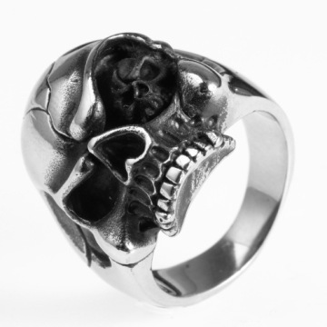 SGS Warranty stainless steel unisex skull head ring