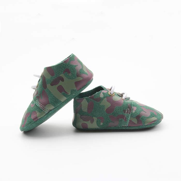 Printing Army Green Fancy Baby Boy Shoes Leather