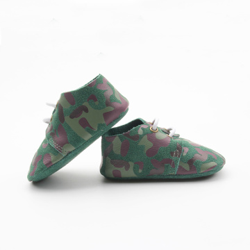 Drucken Army Green Soft Sohle Baby Oxford Schuhe