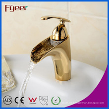 Mezclador de grifo para lavabo de latón de alta calidad Fyeer Faucet de cascada dorada